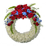 White Wreath with Red Crown on Stand<br>紅冠白花圈連架