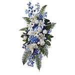Blue Funeral Spray on Stand<br>藍色葬禮花牌連架