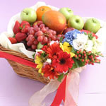 Deluxe Fruit Basket with Flower